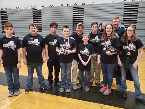 Photo of robotics club students