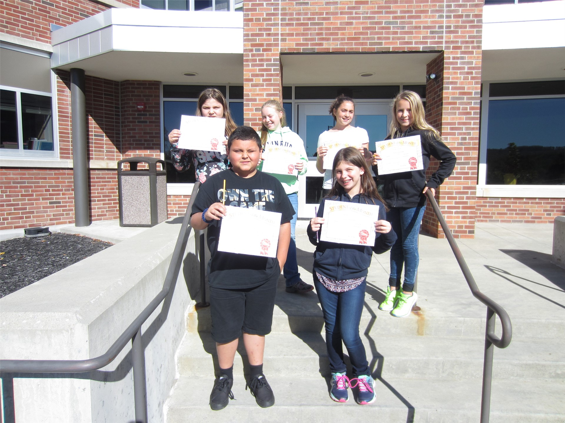 6th Grade Students of the Month for September