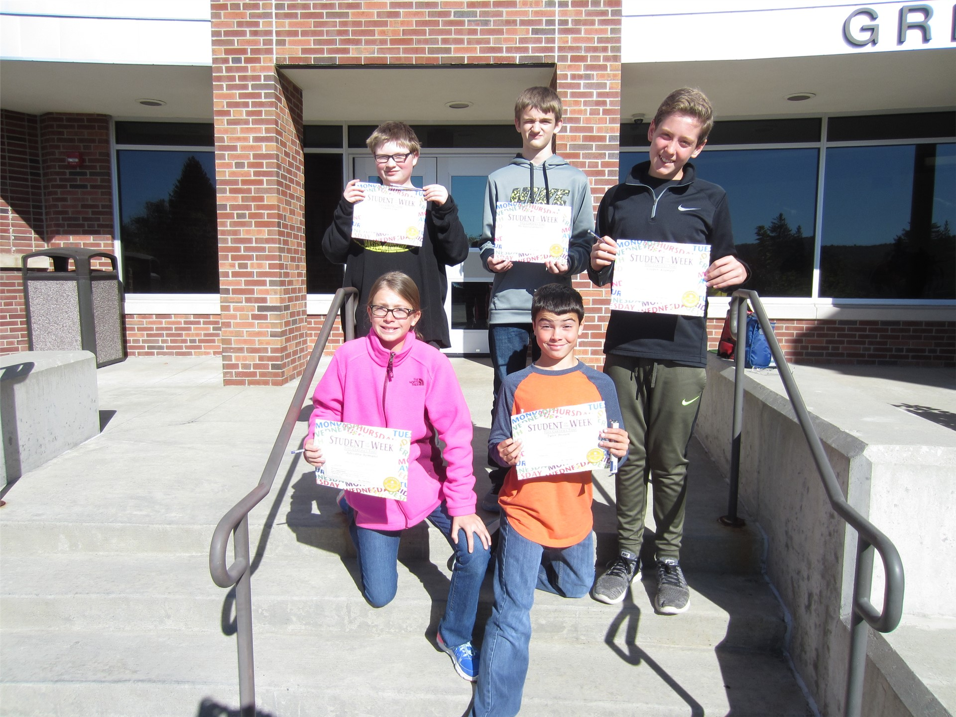 7th Grade Students of the Month for September