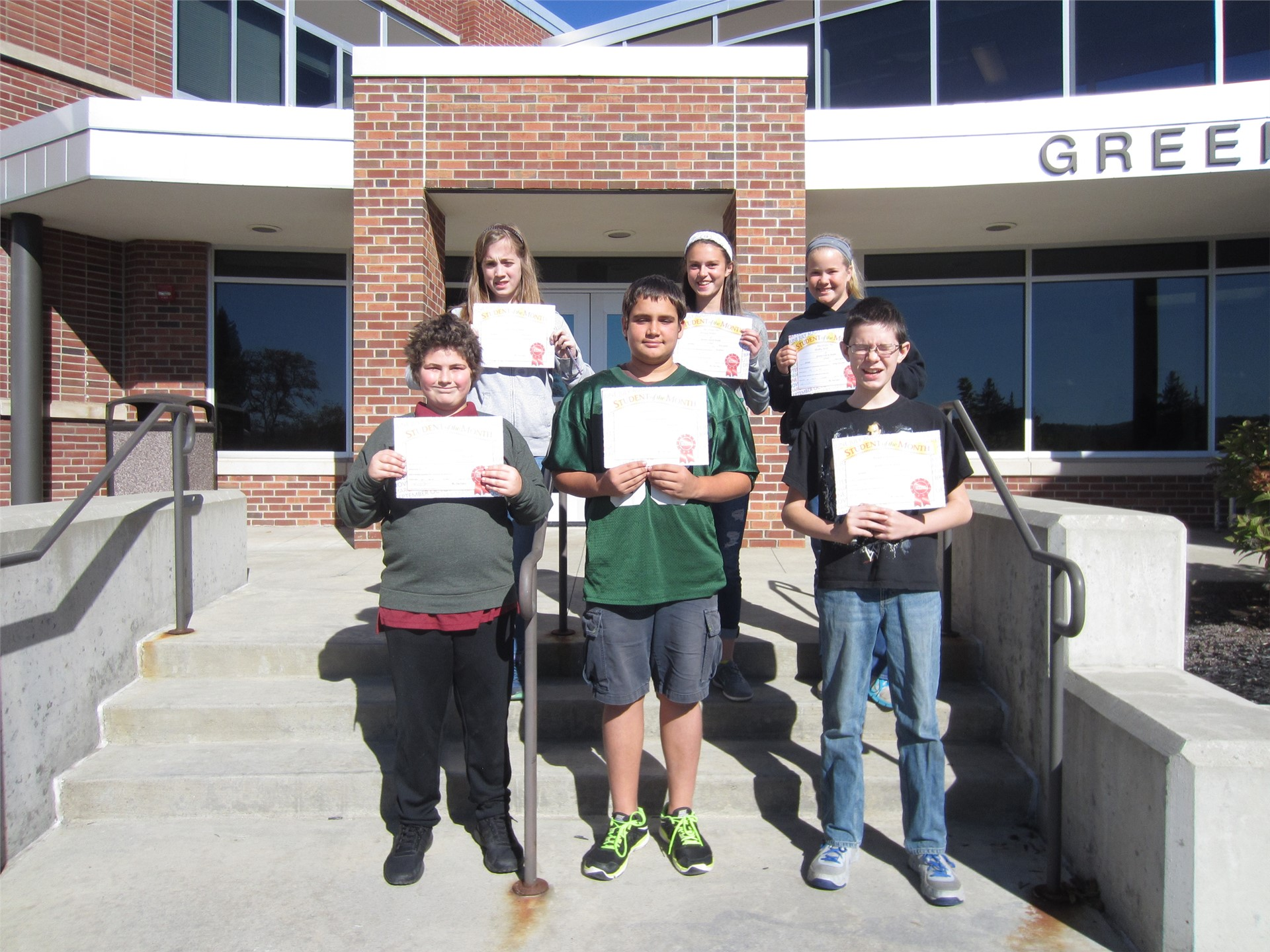 8th Grade Students of the Month for September