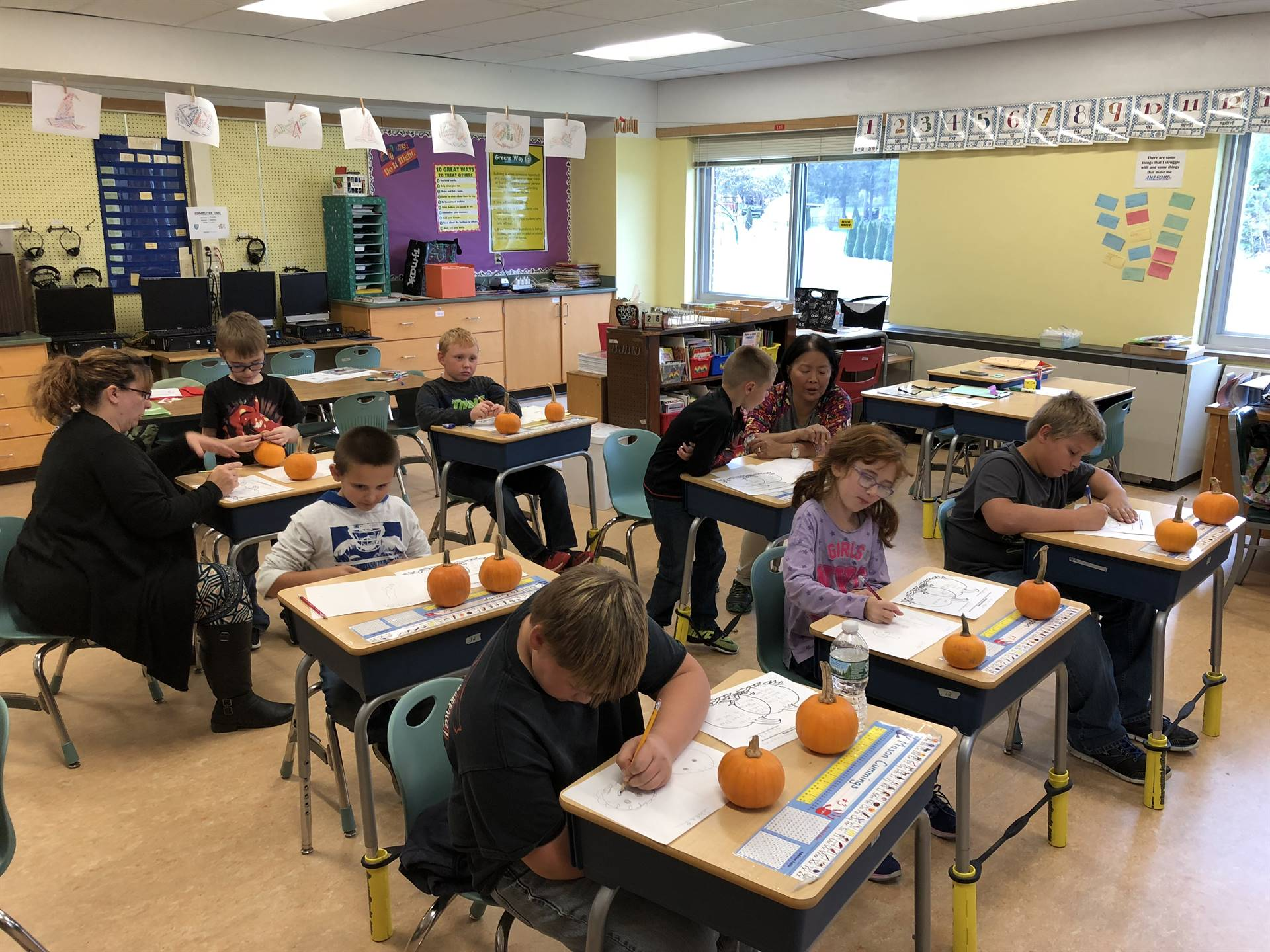 Creating a graphic organizer and drawing of our 2 different pumpkins.