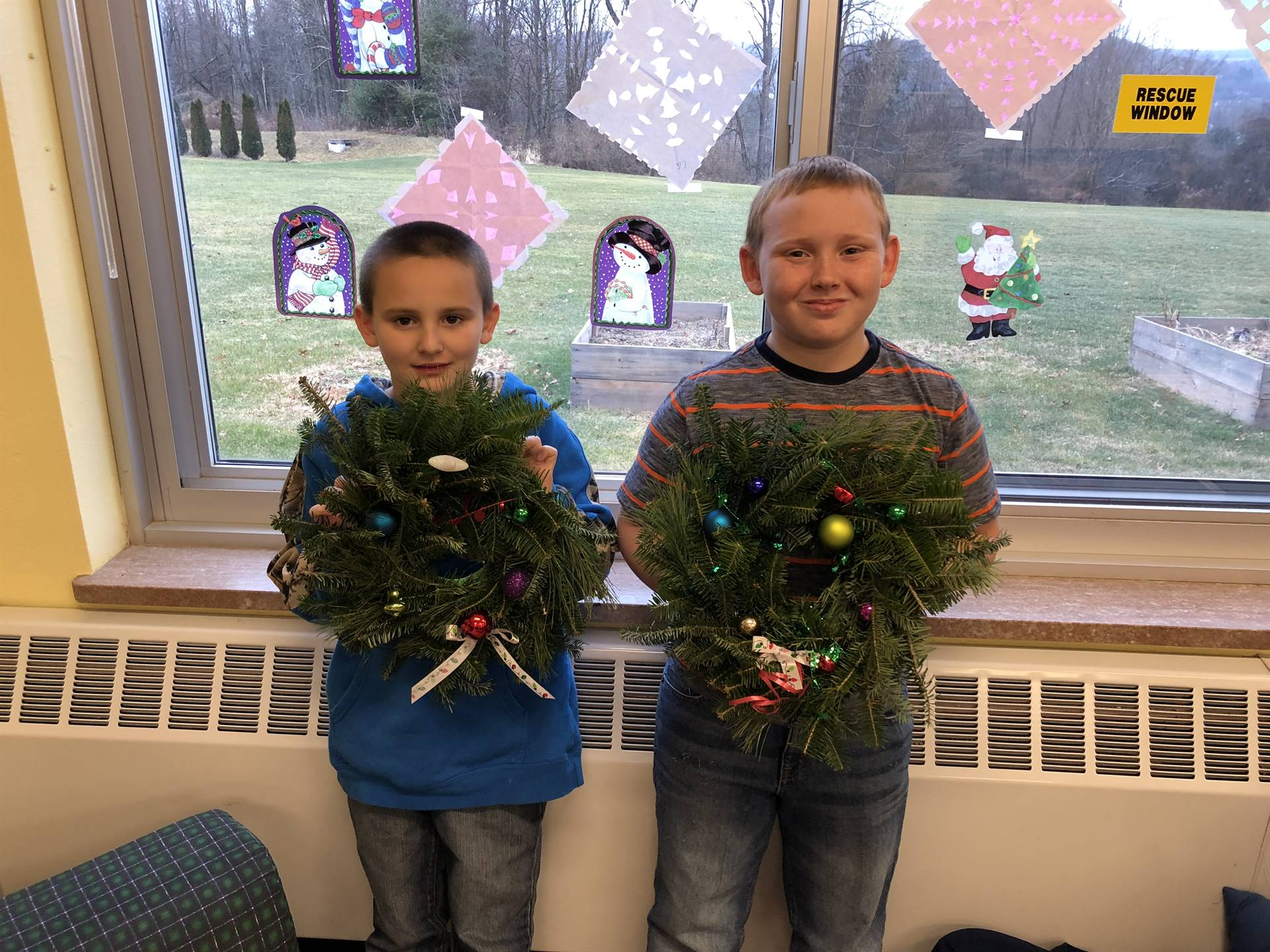 Students with their wreaths
