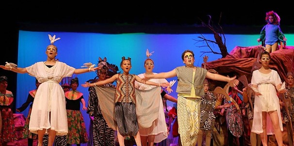 Photo of middle school students performing Lion King Jr.