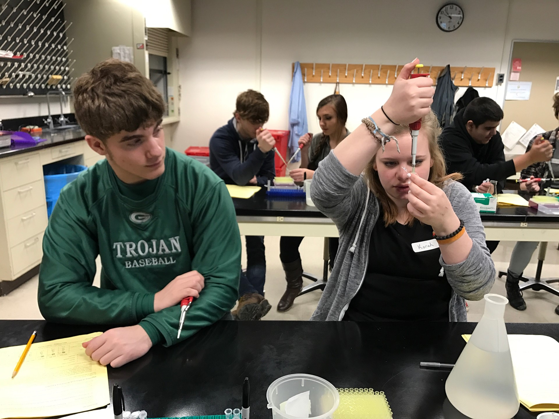 Photo of two students working on DNA Lab