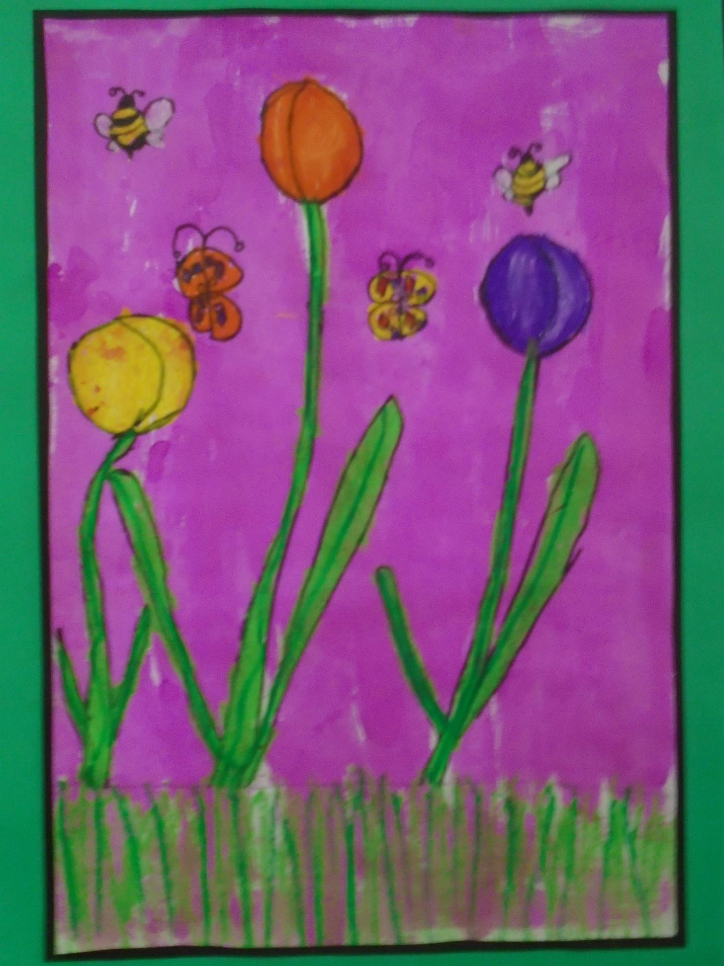 Painting of Tulips & Insects