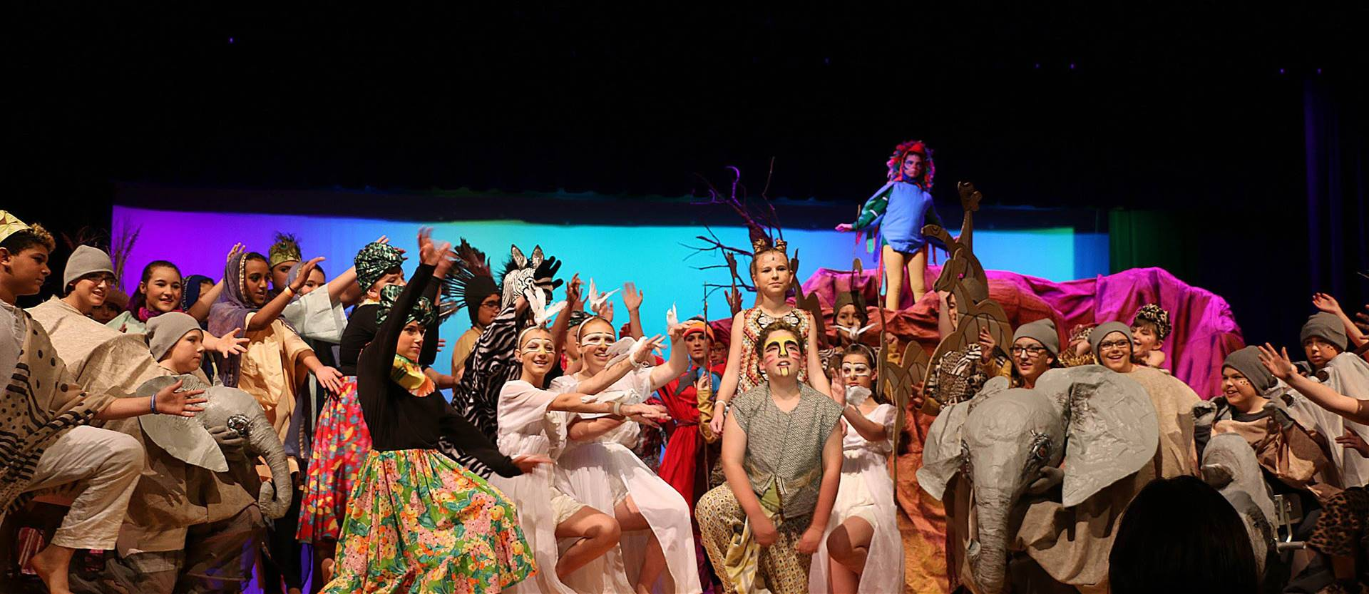 Large group of students on stage during the Lion King play