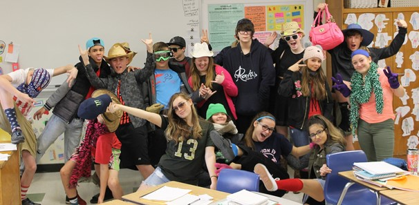 Photo of 8th grade students dressed in costumes