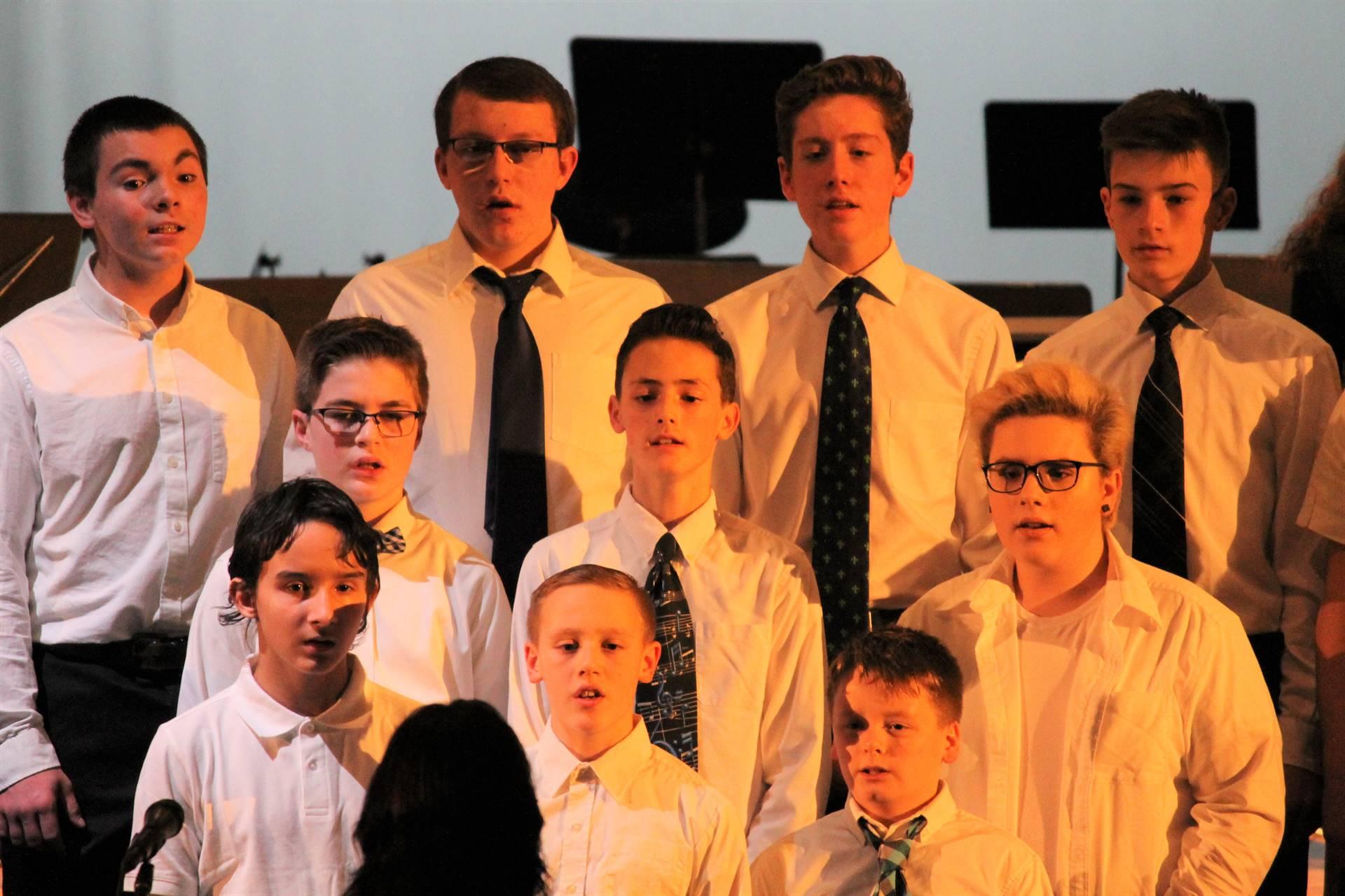 Boys singing at Chorus concert