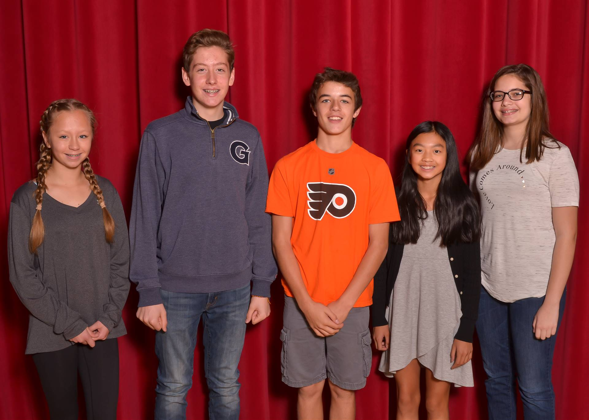 5 8th grade class officers standing together