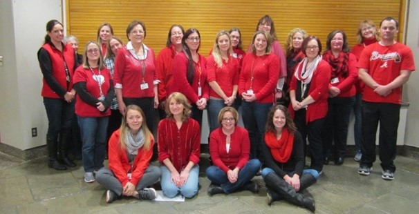 Photo of primary school teachers wearing red in support of healthy hearts