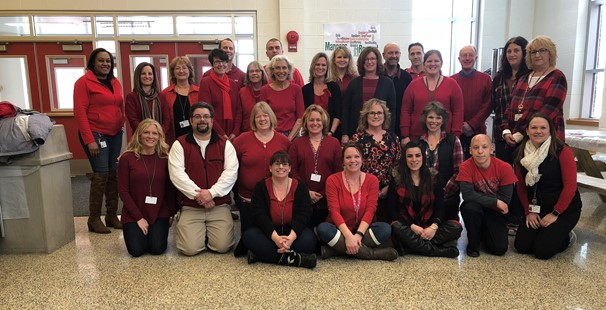 Photo of intermediate school teachers wearing red in support of healthy hearts