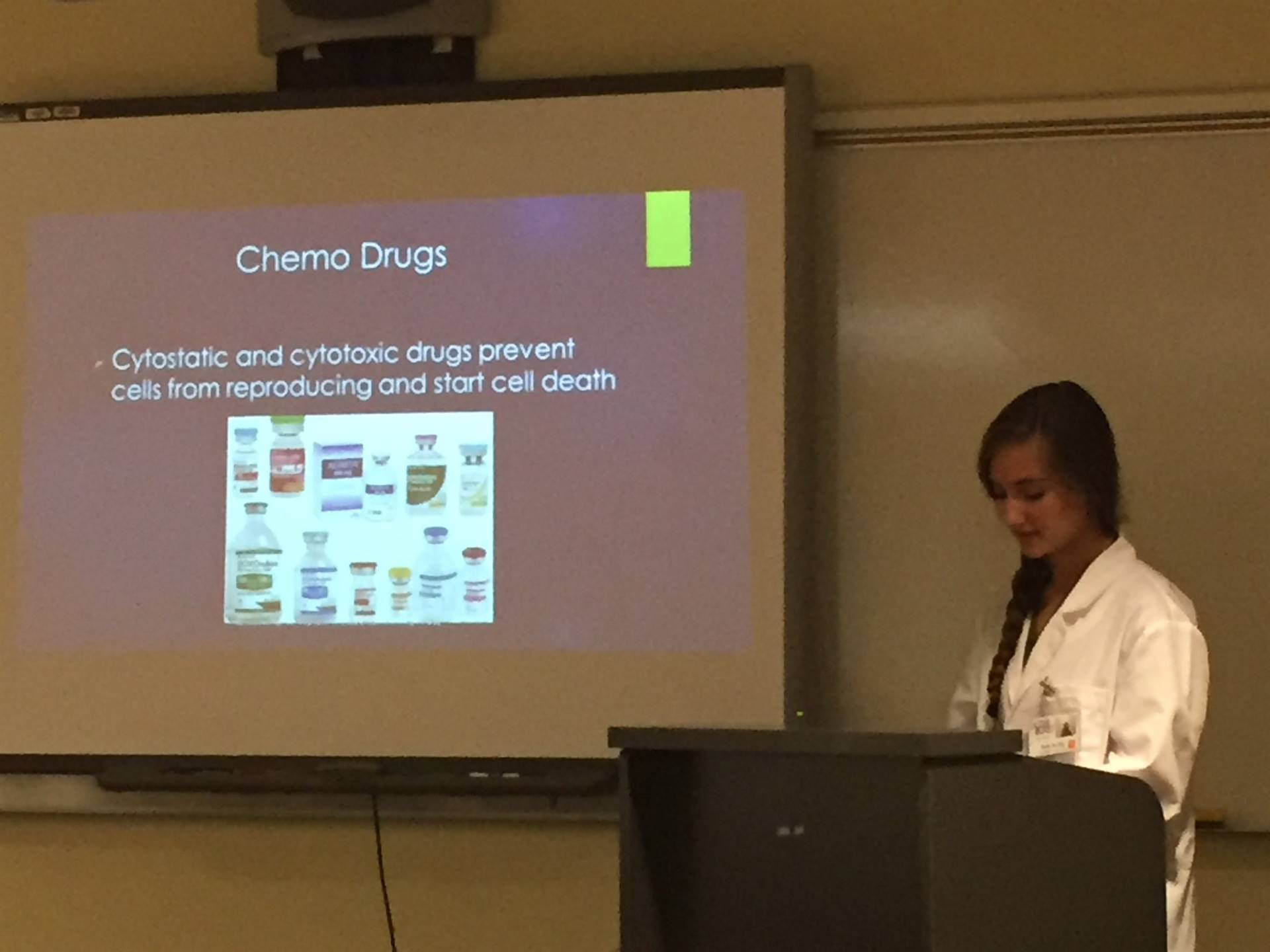 photo of female high school student presenting new visions project