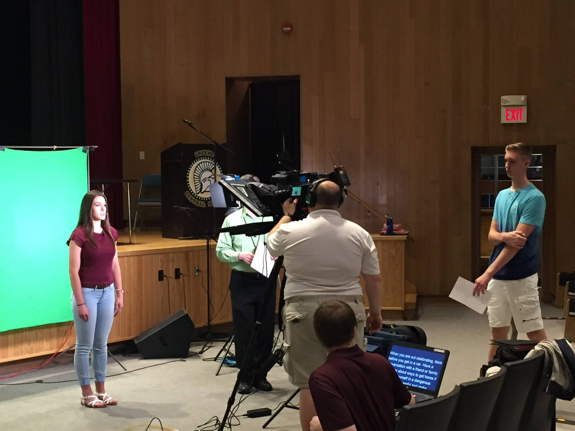 photo of female high school student recording PSA