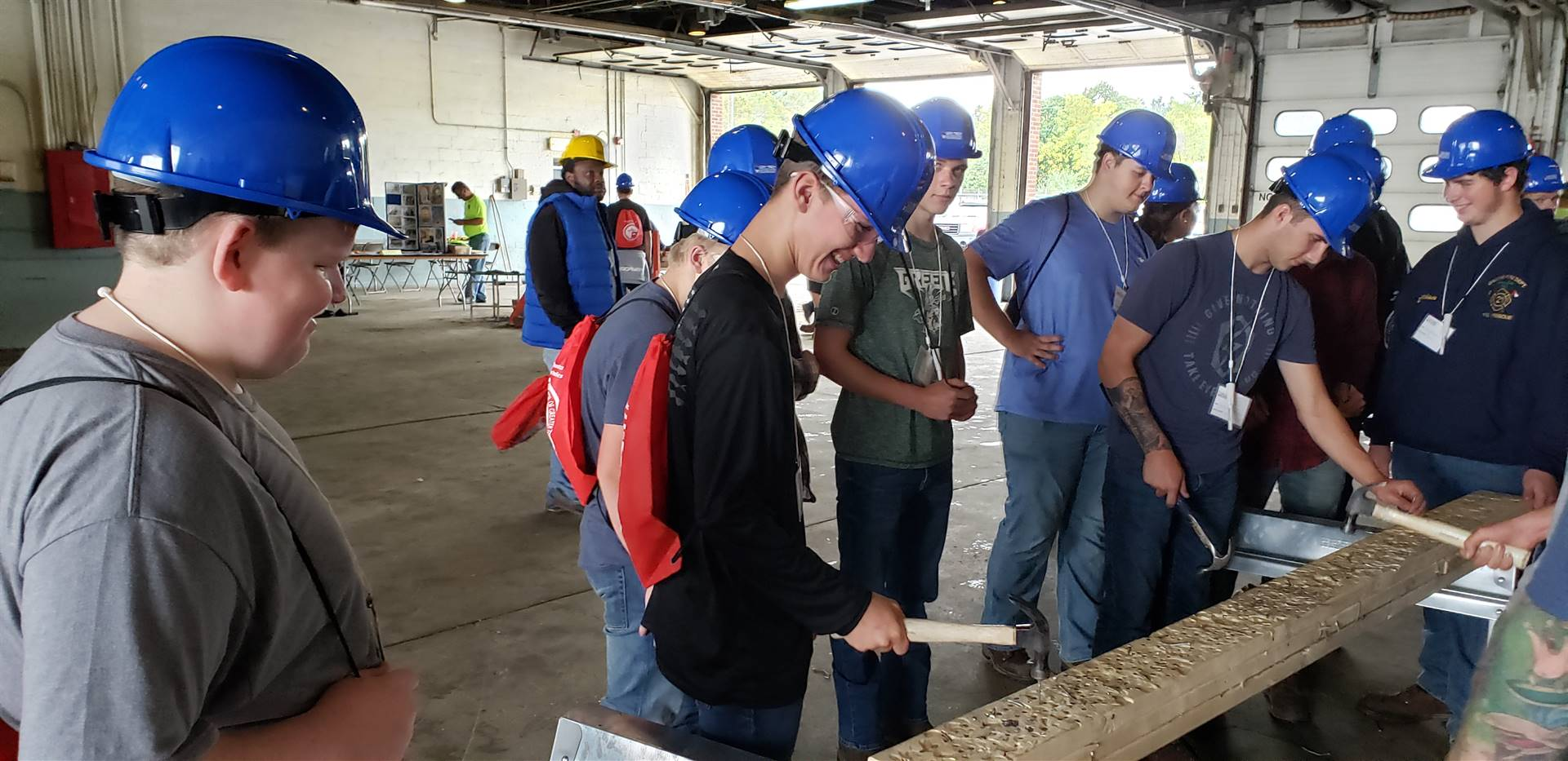 students at construction career day