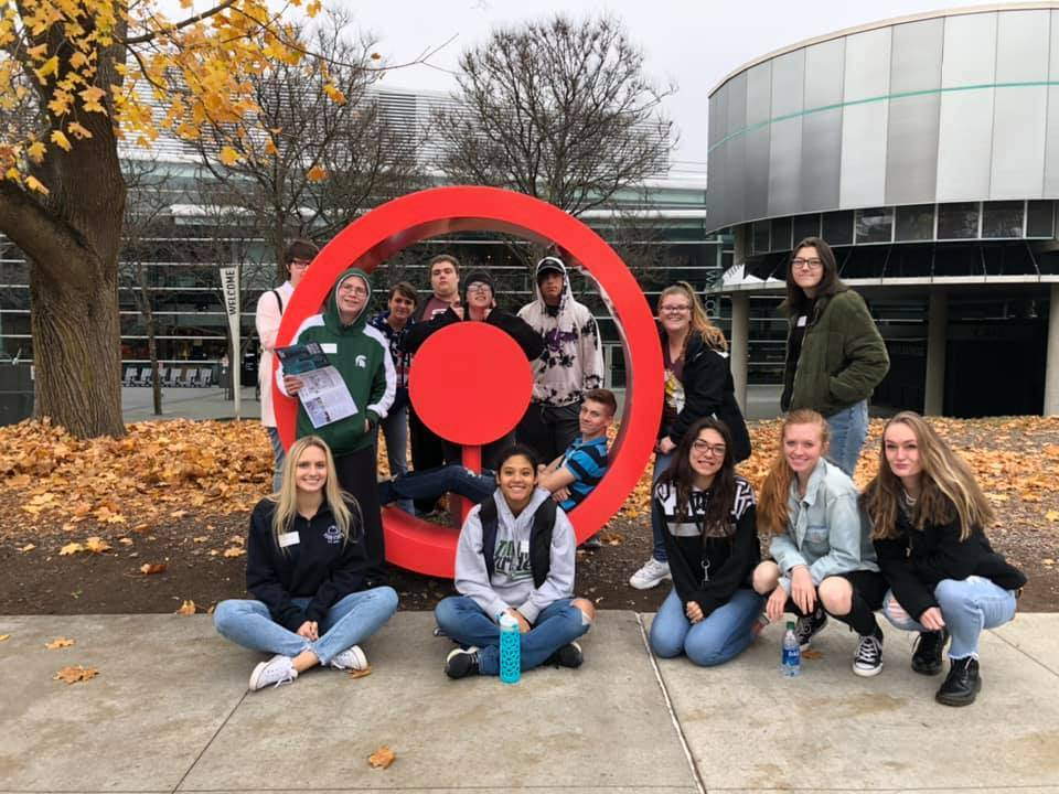 students outside Corning Museum of Glass