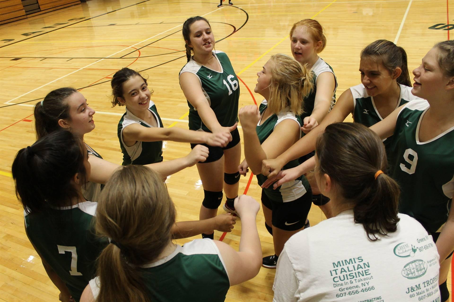 Girls Volley Ball Team Cheering