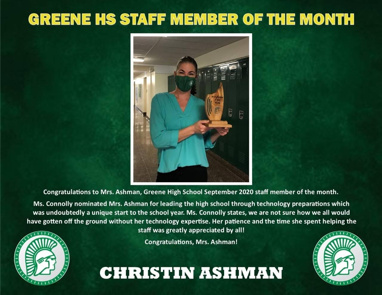 Photo of Mrs. Ashman Sept. Staff member of Month Bio
