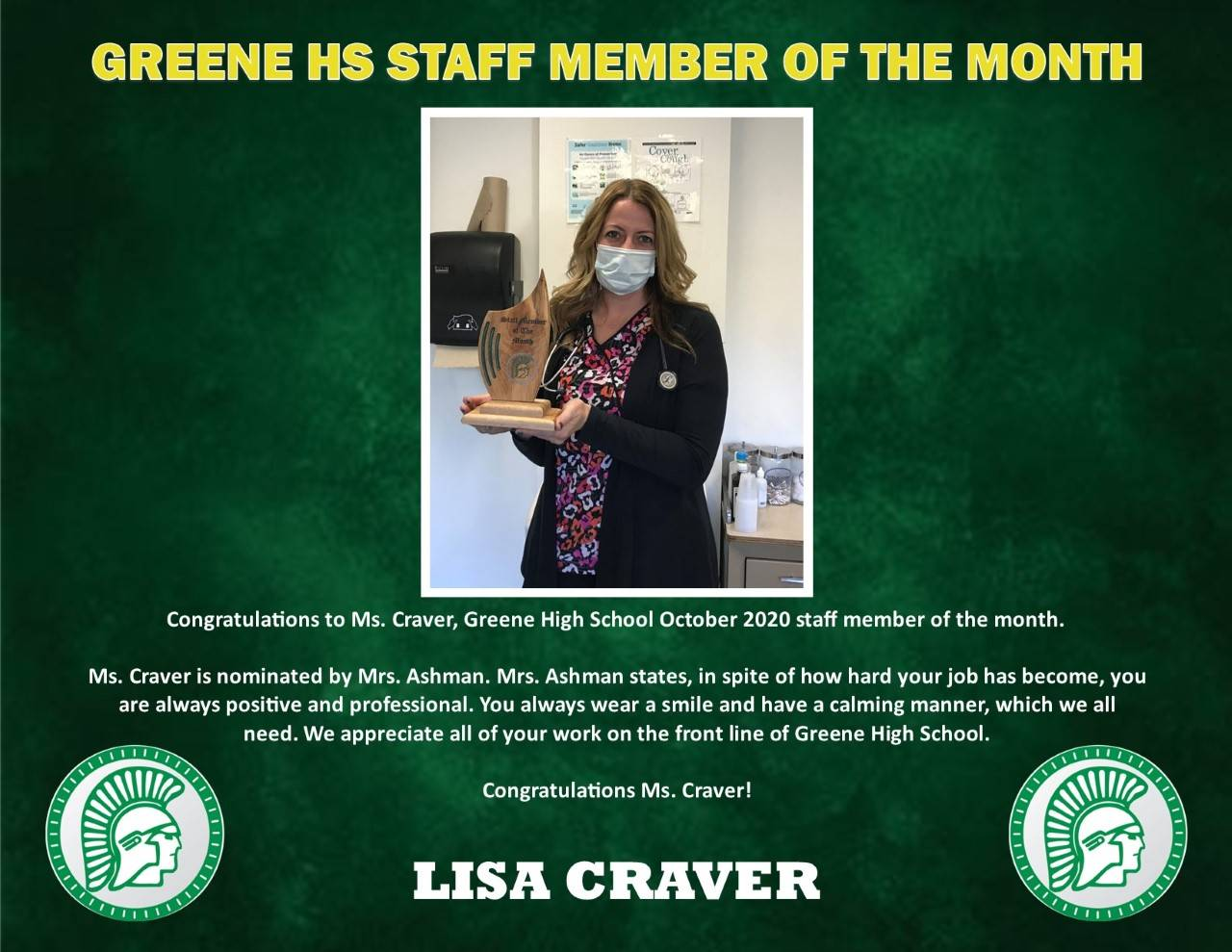 Photo of Ms. Craver's Oct. HS Staff Member of the Month
