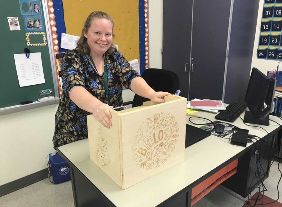 Ms. Schindler's new podium made by Mr. Dotson's HS Technology Class