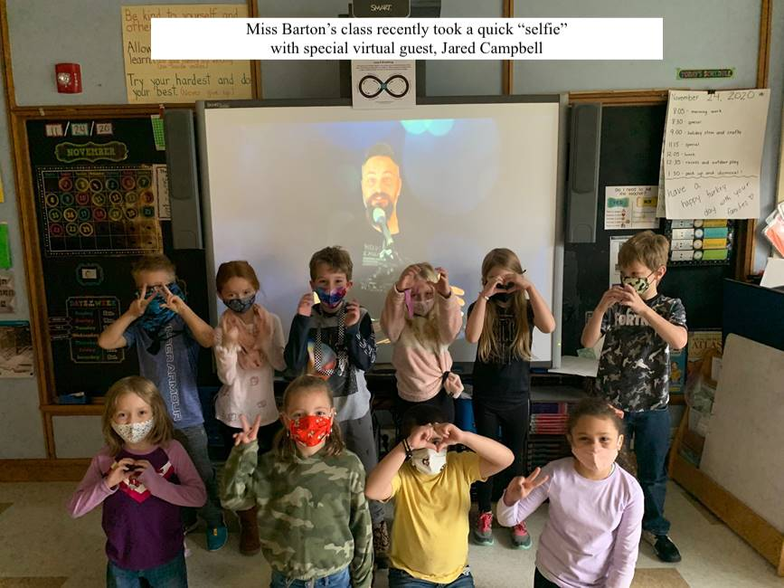 Miss Barton's class with virtual guest, Jared Campbell