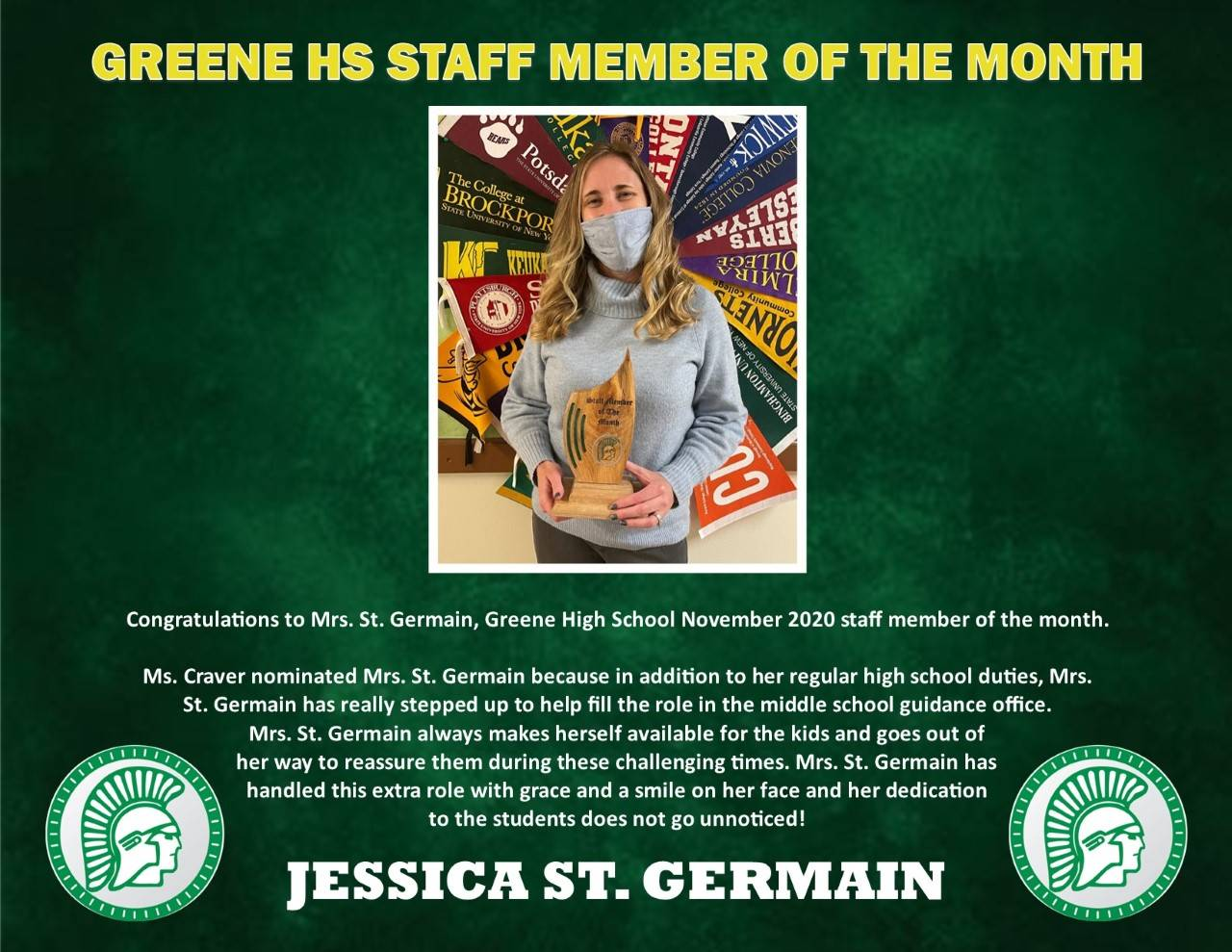 Photo of Jess St. Germain Greene HS Staff Member of the Month for Nov.