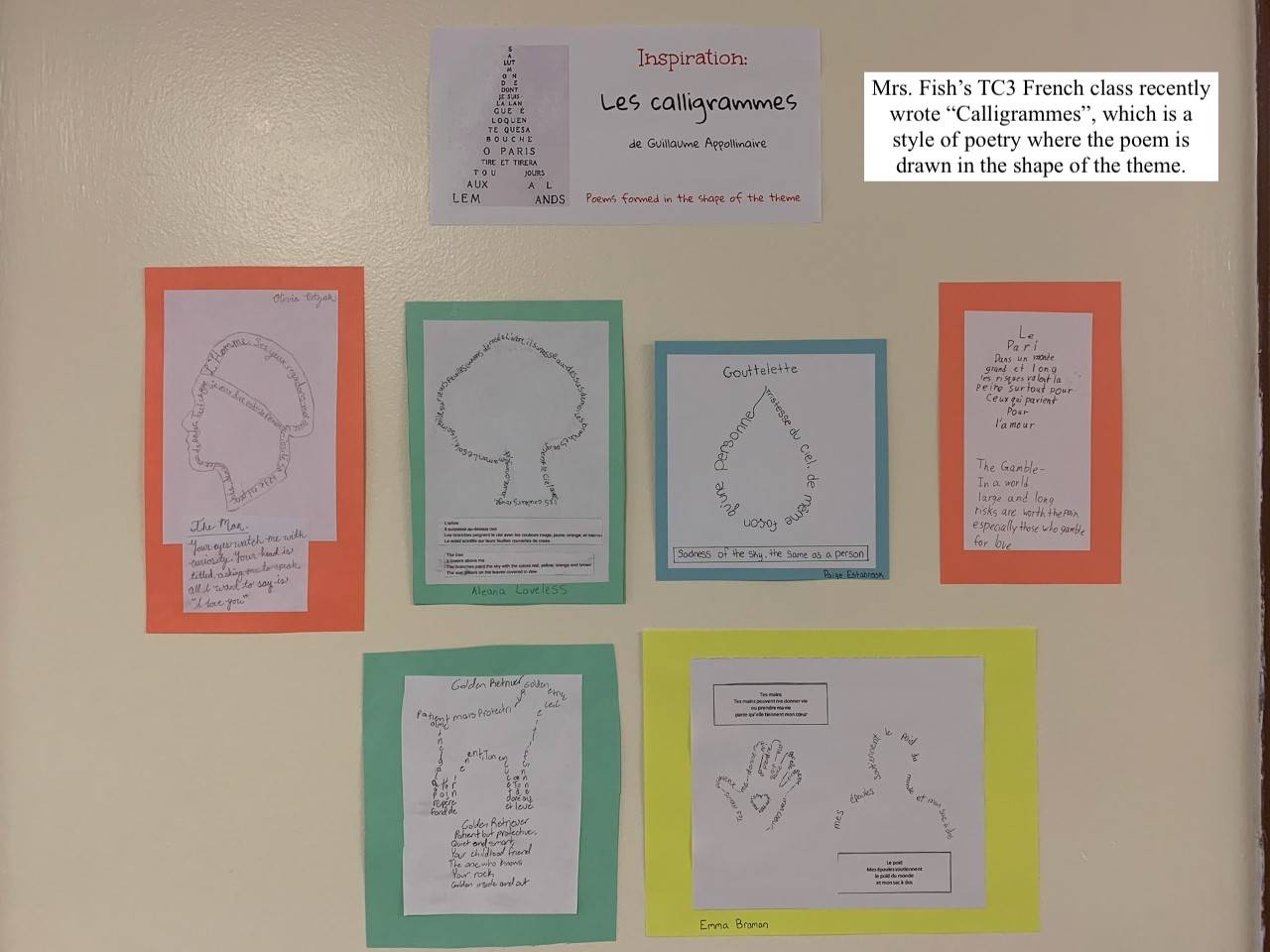 Photo of Mrs. Fish's TC3 class calligrammes projects