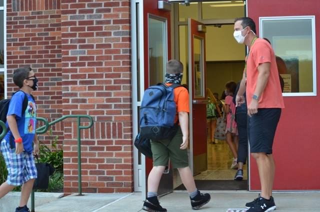 Mr. Starliper directing intermediate students on first day photo