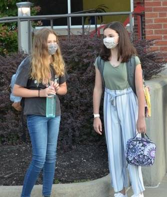Middle School Students Awaiting Entry on 1st day photo
