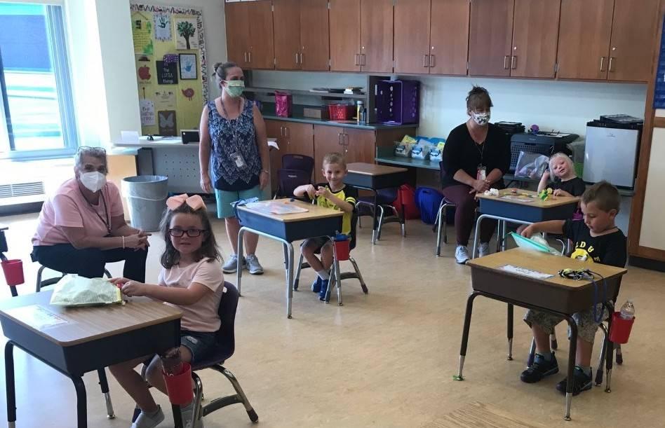 Picture of Kindergarteners Enjoying 1st day of school!