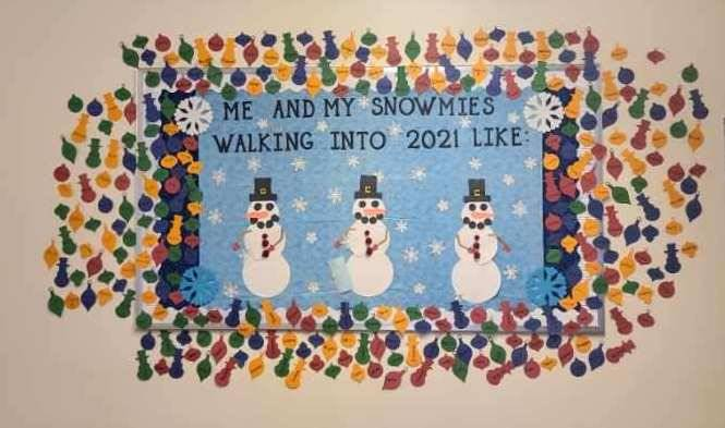 Photo of Snowmen near Mrs. Frair's door