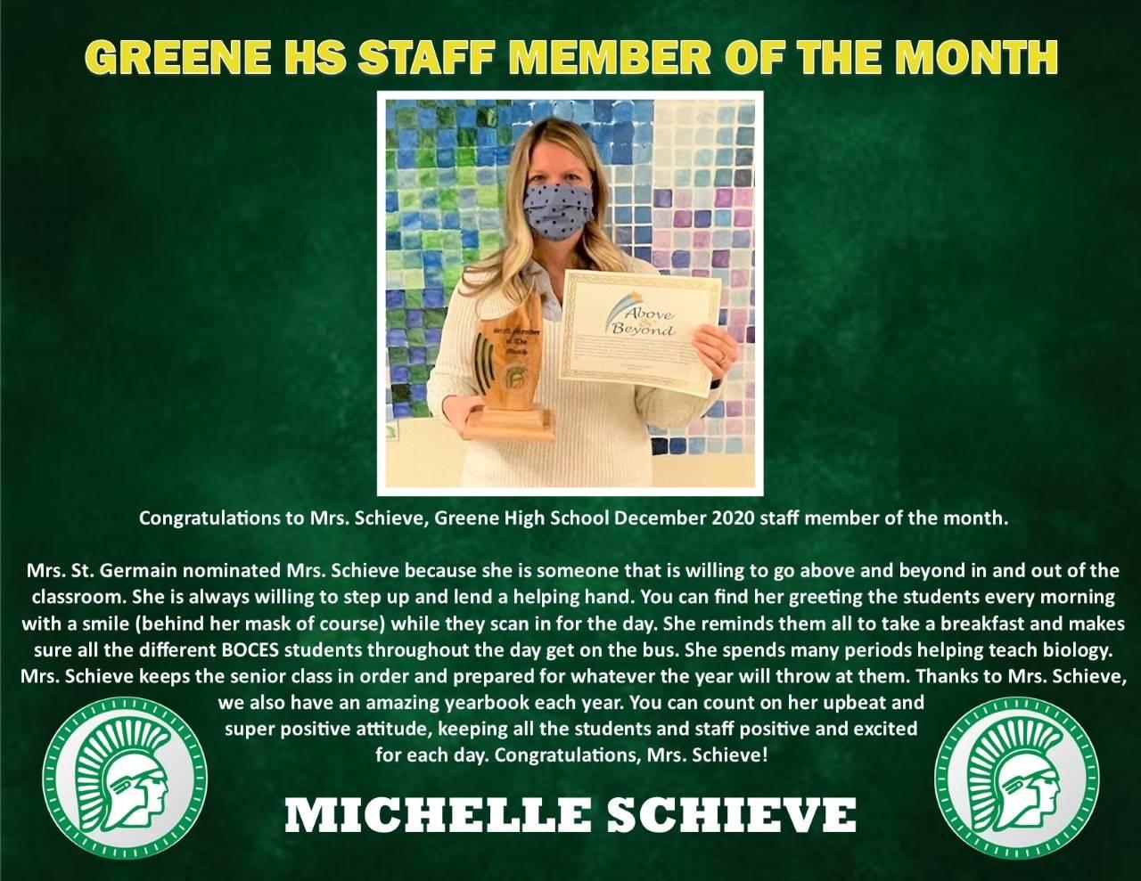 Mrs. Schieve's Staff Member of the Month photo & bio