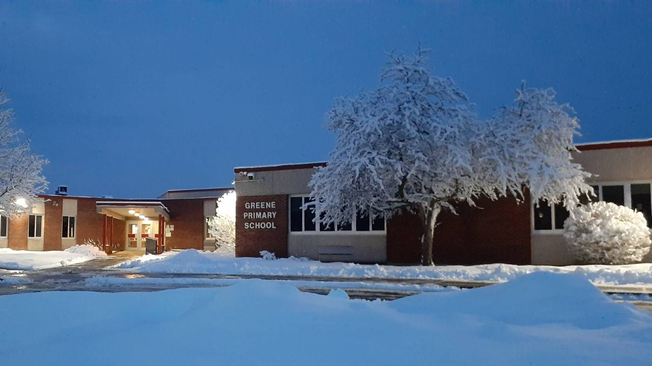 Photo of snow covered Greene Primary School building