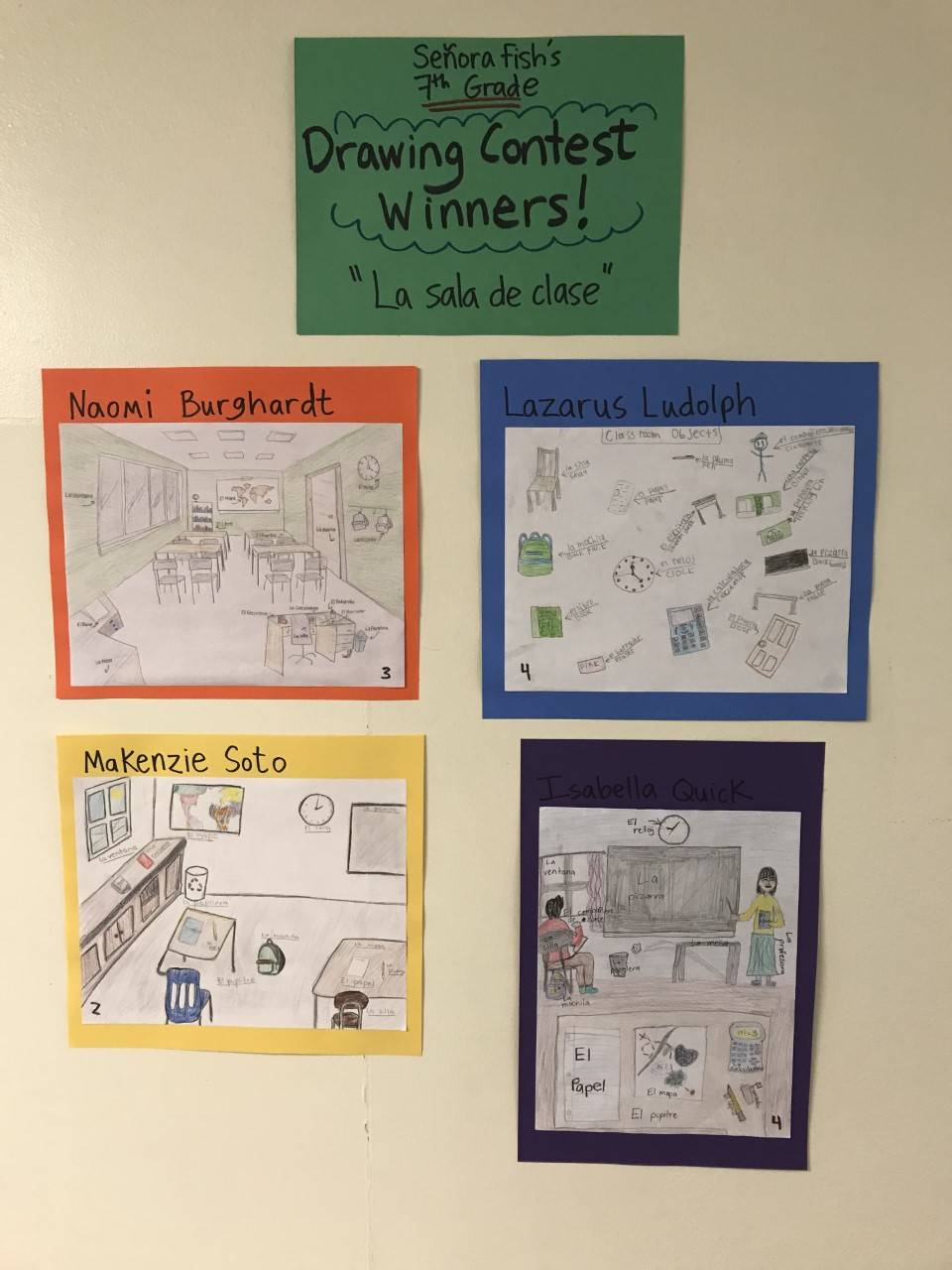 Picture of Mrs. Fish's Drawing Contest winning entries