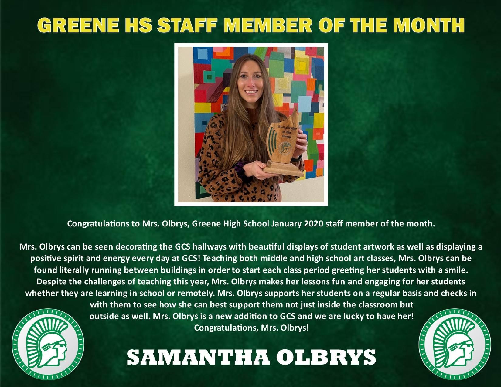 Mrs. Olbrys HS Staff Member of Month Bio