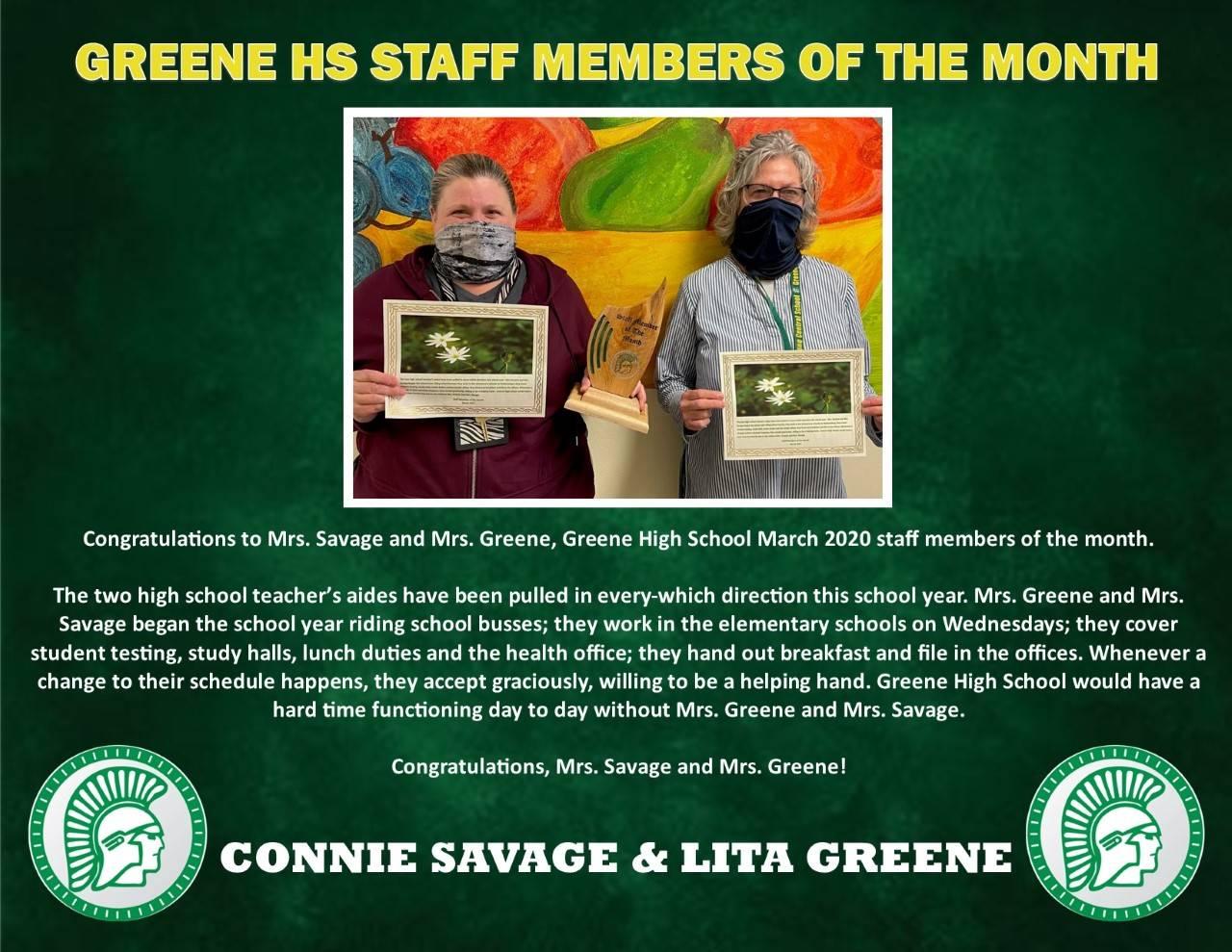 Mrs. Savage and Mrs. Greene's Staff member of Month Bio page