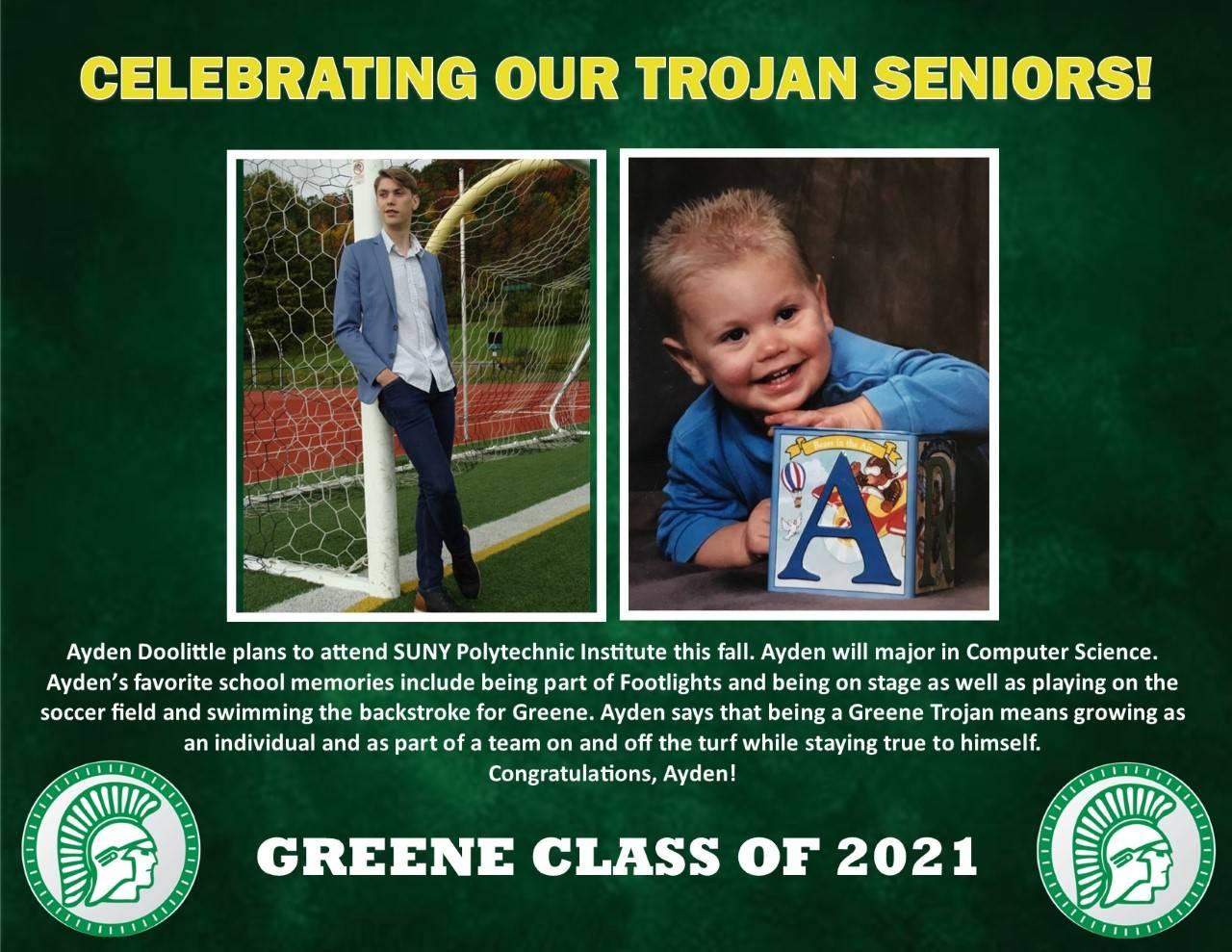 Ayden Doolittle Senior Spotlight Bio