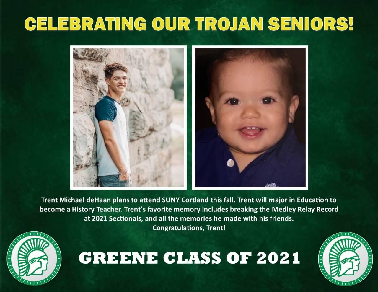 Trent deHaan Senior Spotlight bio
