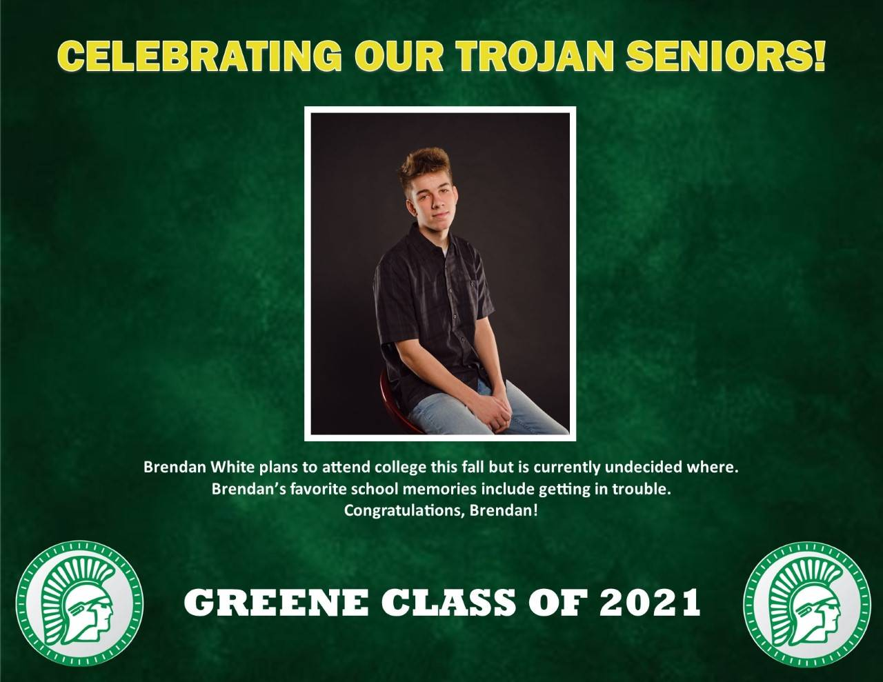 Brendan White Senior Spotlight bio
