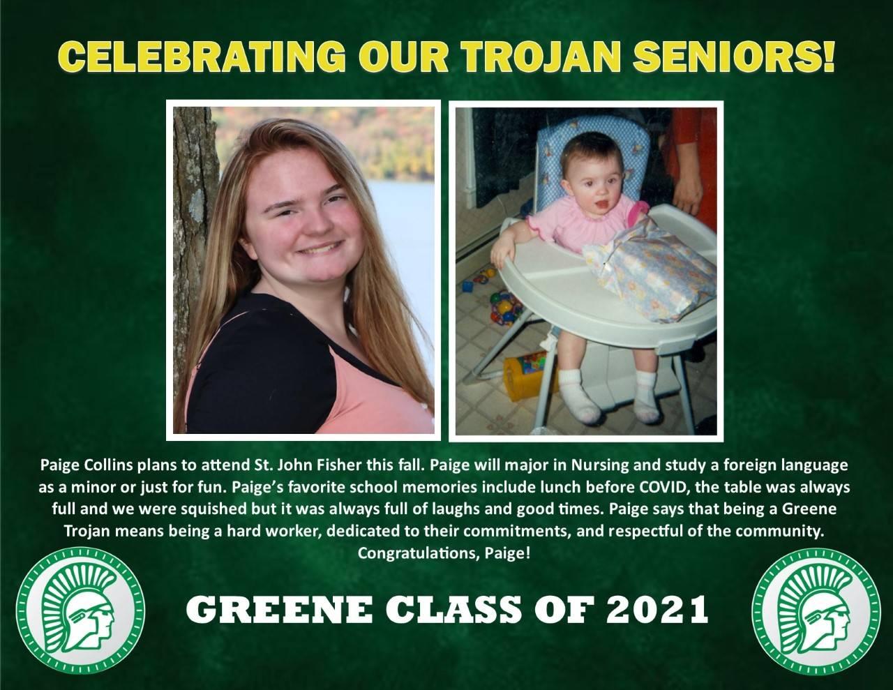 Paige Collins Senior Spotlight bio